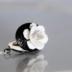 🌸 Flower Locket Necklace, Black Paint, Handmade🌸